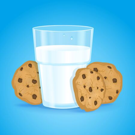 Realistic glass with milk and cookies with chocolate chips on a blue background. Fresh delicious vitamin and healthy breakfast for children and adults. Oatmeal baking. Protein cocktail. Vector. Illustration