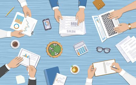 Business team working at desk with documents, laptop, tablet, notebook, calculator, phone, graphics, newspaper, cups. Teamwork, business meeting concept. Planning, reports, corporate management. Vector