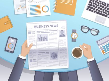 Businessman reading a newspaper in the workplace and drinks coffee. Latest business news at breakfast. Journal in hands, desk, documents, phone, watches, laptop, glasses, calculator, wallet. Vector Standard-Bild - 150071975