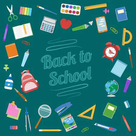 Back to School background. School supplies on green board. Education Concept. Vector illustration. Illustration