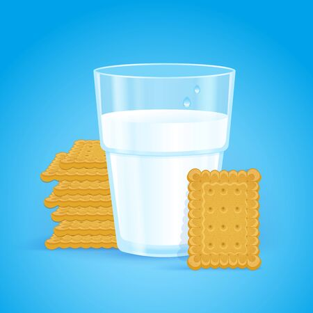 Realistic glass with milk and wheat biscuits on a blue background. Tasty crispy rectangular cookies in the stack. Fresh delicious vitamin and healthy breakfast for children and adults. Oatmeal baking.