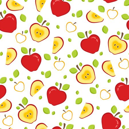 Seamless pattern with whole and half red apples. Fruit Background for print. Vector illustration