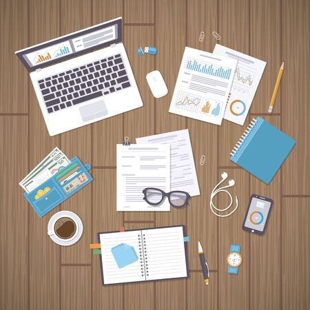 Office workplace with documents, laptop, notebook, wallet, phone, watch, glasses, pencil, pen, graphs and charts, headphones, coffee, forms. Wooden desk with supplies. Organization, management.