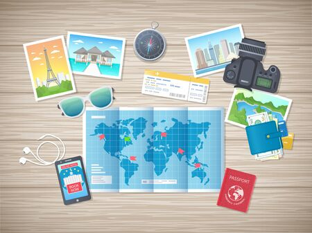 Preparing for vacation, travel, journey. Travel planning. Booking hotel. Wooden table with world map, photos, air ticket, passport, phone, wallet, camera, compass, headphones. Vector, top view Illustration
