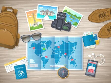 Preparing for vacation, travel, journey. Travel planning. Booking hotel. Wooden table with shoes, world map, photos, air ticket, passport, luggage, wallet, camera, compass, headphones. Vector top view