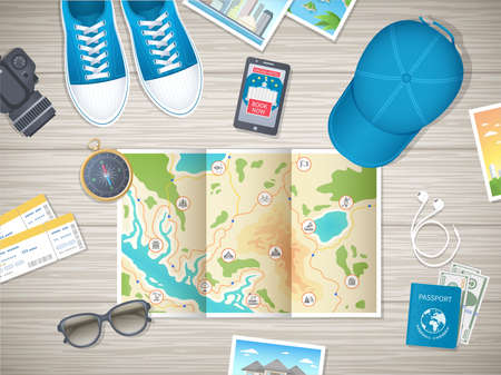 Preparing for vacation, travel, journey. Travel planning. Booking hotel. Wooden table with sneakers, baseball cap, map, photos, air tickets, passport, camera, compass, headphones. Vector top view Standard-Bild - 151174725