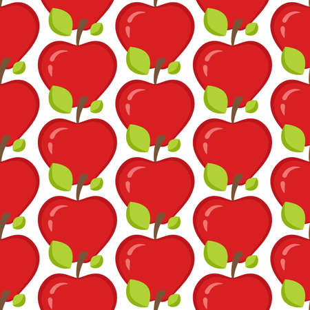 Seamless pattern with whole red apples and leaves. Fruit Background for print. Vector illustration