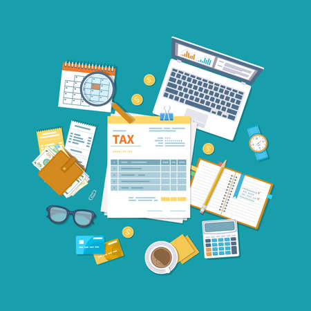 Tax payment concept. State Government taxation, calculation of tax return. Unfilled blank tax form, calendar, magnifier, money, notebook, calculator, coins, glasses, watches, documents, computer. Vektorgrafik