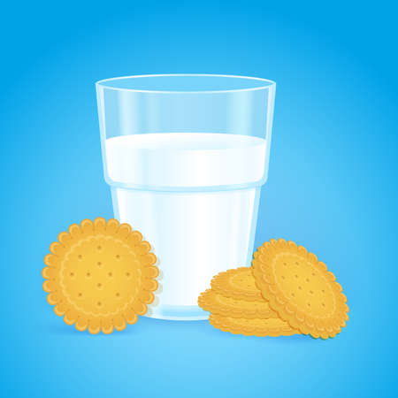 Realistic glass with milk and round cookies on a blue background. Tasty crispy circle biscuits in the stack. Fresh delicious vitamin and healthy breakfast for children and adults. Oatmeal baking. Illustration