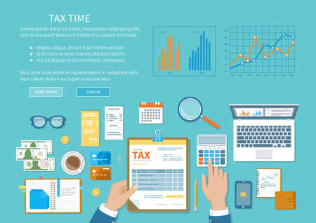 Tax payment concept. State Government taxation, calculation of tax, return. Unfilled blank tax form, calendar, magnifier, money, notebook, calculator, coins, glasses, watches, documents, laptop. Illustration