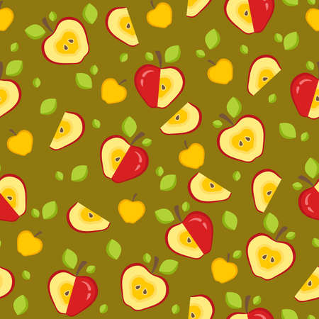 Fruit background with whole, chopped, slices of apples, green leaves. Seamless pattern for print. Vector illustration