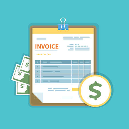Invoice icon with money on a tablet isolated. Unfilled, minimalistic form of the document. Payment and invoicing, business or financial operations sign. Template design in the flat style. Vector Illustration