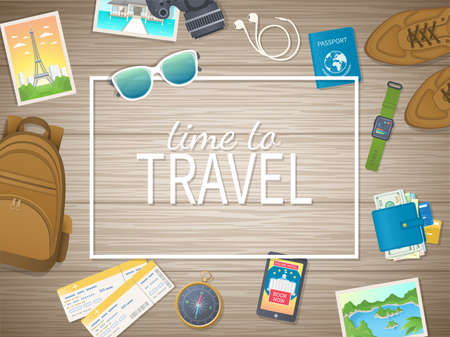 Time to travel web banner design. Preparing for vacation, travels, journey. Top view of luggage, photos, air ticket, passport, wallet, camera, compass, headphones, shoes, watch. Vector illustration Standard-Bild - 152108819