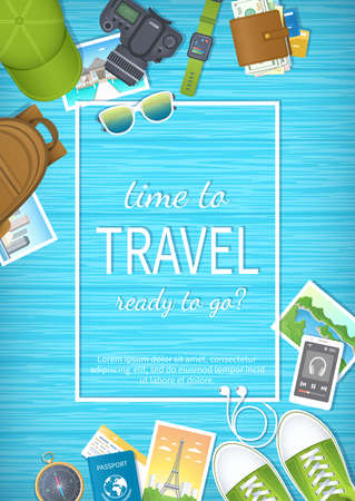 Time to travel web banner design. Summer holiday, preparing for vacation, travels, journey. Top view of luggage, photos, air ticket, passport, wallet, camera, compass, shoes, watch Vector illustration
