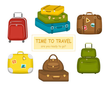 Set of various travel bags suitcases with stickers on isolated white background. Summer travel handle luggage. Traveling equipment. Flat vector icon illustration. Illustration