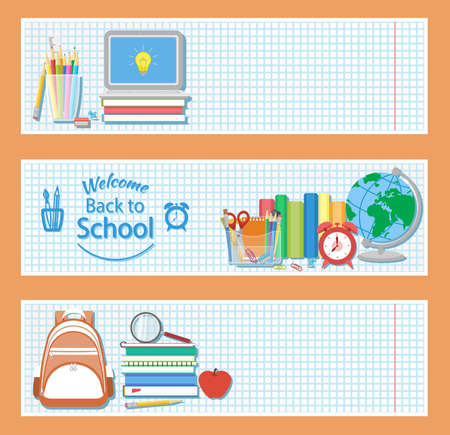 Set of three horizontal banners with school supplies as books, laptop, backpack, pencils, alarm clock, globe, stationery set ,, magnifying glass. Welcome back to school logo. Education concept. Vector. Illustration
