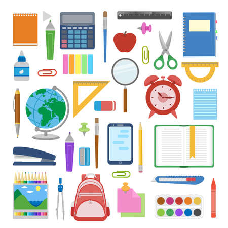 School supplies and items set isolated on white background. Back to school equipment. Education workspace accessories. Infographic elements. Vector illustration.