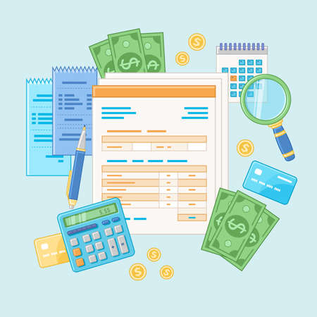 Accounting concept. Tax payment and invoice. Financial analysis, analytics, planning, statistics, research. Documents, forms, calculator, checks, magnifying glass, cash, credit cards. In line style. Illustration