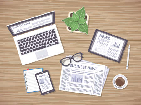 Wooden table with daily news on newspaper, tablet, laptop and phone. Headlines, photos, articles on the screens. Many ways to get latest news. Vector illustration, top view. Illustration