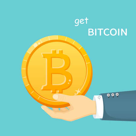 Golden bitcoin in a man's hand. Electronic means of payment. CryptoCurrency Capitalizations. Digital coin. Vector