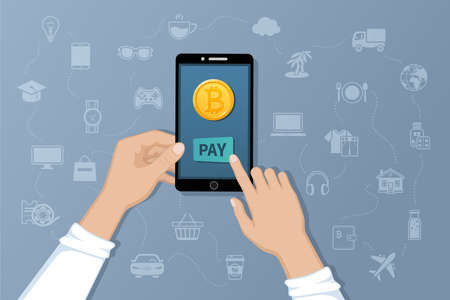Payment by Bitcoins. Pay for goods and services by crypto currency. Payment service international transfers by electronic virtual currency. Hands holding a phone with a gold coin bitcoin. Vector