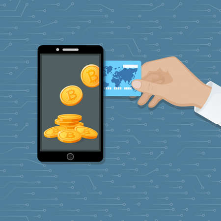 Bitcoin exchange concept. Cryptocurrency Capitalizations. A man's hand with a credit card, phone and bitcoins. Purchase of digital virtual electronic coins. Vector
