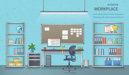 Stylish and modern office workplace. Room interior with desk, armchair, monitor, note-board, office supplies, flowerpot, globe, folders, documents. Detailed vector illustration for web banner. Illustration