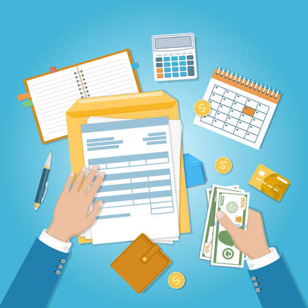 The concept of financial payment. Invoice, tax, bill paying. Human hands with documents, forms, money, calendar, calculator, notepad, purse, credit card, coins, envelope. Vector illustration. Top view.