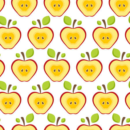 Seamless pattern half red apples.