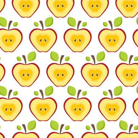 Seamless pattern half red apples. Standard-Bild - 154412855