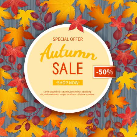 Autumn sale flyer template.