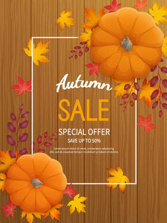 Vertical banner flyer with pumpkin, leaves on a wooden table Special seasonal offer.