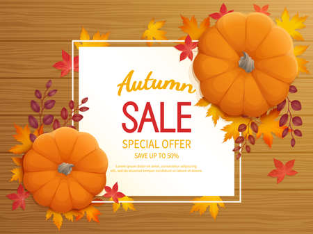 Horizontal banner flyer with pumpkin, leaves on a wooden table Special seasonal offer.
