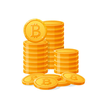 Stack mountain gold bitcoins digital money. Cryptocurrency coins, virtual currency, capitalization. Isolated icon on white background.