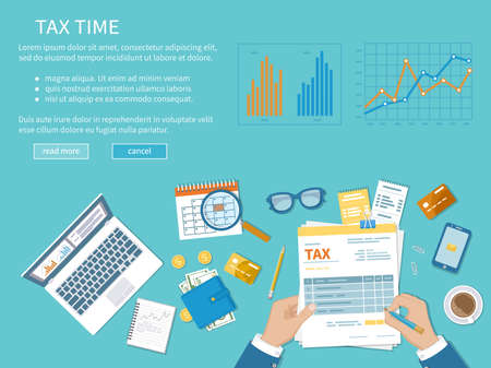 Tax payment concept. State Government taxation, calculation of tax, return. Unfilled blank tax form in hand, calendar, magnifier, calculator, coins, glasses, documents, laptop, charts and graphics.