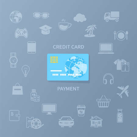 Credit card payment. Cashless payment for goods and services. Credit card and set of service icons. Vector illustration Standard-Bild - 155410451