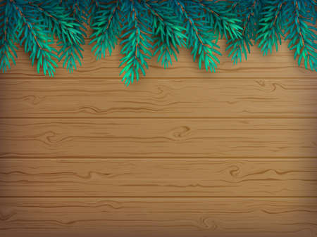 Christmas or New Year background with realistic fir branches on a wooden brown table. Vector illustration. Top view. Illustration