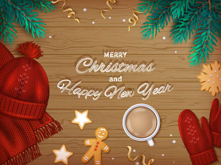 Merry Christmas and Happy New Year Greeting Background. Winter Elements fir branches, knitted hat, scarf, mittens, coffee, cookies, gingerbread Man, ribbons on a wooden table. Top View. Vector