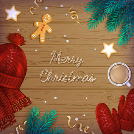 Merry Christmas Greeting Background. Winter Elements fir branches, knitted red hat, scarf, mittens, cup of coffee with foam, cookies, gingerbread Man, ribbons on a wooden table. Top View. Vector Illustration