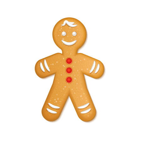 Gingerbread man with red candies and white icing. Christmas Greeting Cookies. New Year winter holidays traditional dessert. Vector illustration isolated on white background.