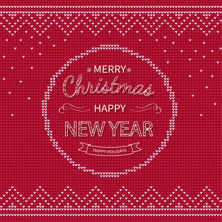 Merry Christmas and Happy New Year Greeting red knitted Background.
