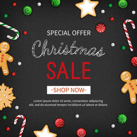 Special offer Christmas Sale. Discount flyer, big seasonal sale. Web banner with holiday sweets - lollipops, candy cane, cookies, gingerbread Man. Xmas Greeting Card with Lettering on black background