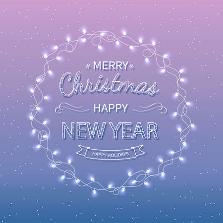Merry Christmas and Happy New Year Greeting Background. Beautiful   lettering with garlands. Xmas card Vector illustration