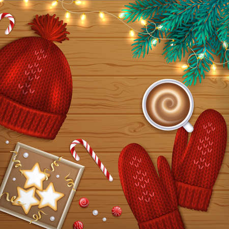 Merry Christmas and Happy New Year Greeting Background. Winter Elements fir branches, knitted red hat, mittens, cup of coffee, cookies, sweets, garland, ribbons on a wooden table. Top View. Vector