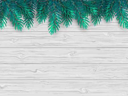 Christmas or New Year background with realistic fir branches on a wooden white table. Vector illustration. Top view. Standard-Bild - 155836505