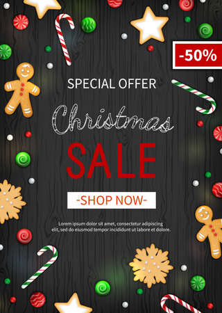 Special offer Christmas Sale. Vertical Discount flyer, big seasonal sale. Web banner with holiday sweets- lollipops, candy cane, cookies, gingerbread Man. Xmas Greeting Card on black wooden background Illustration