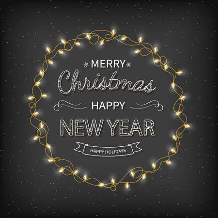 Merry Christmas and Happy New Year Greeting Background. Beautiful   lettering with garlands, golden confetti tinsel on a black background. Xmas card Vector illustration