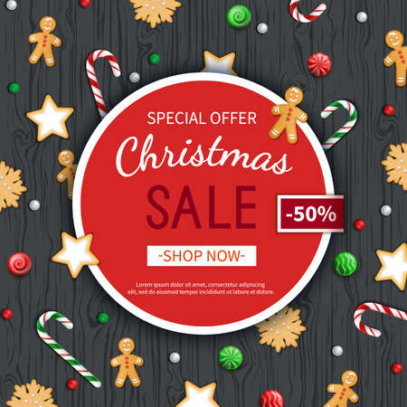 Christmas sale flyer template. Poster, card, label, background, banner on circle frame with sweets on a wooden black table. Special seasonal offer. Vector illustration. Top view Illustration