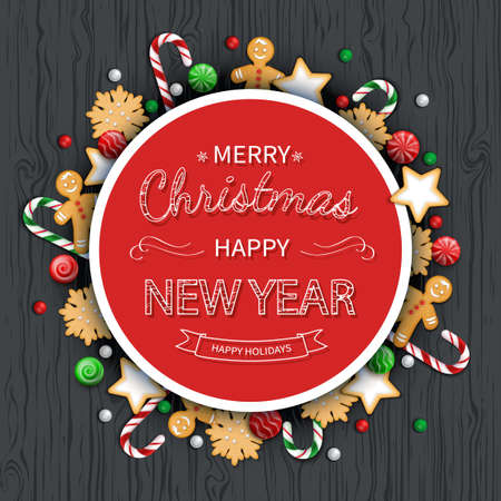 Merry Christmas and Happy New Year Greeting Background. lettering with sweets, cookie, lollipops, candy cane, gingerbread Man on a wooden black table. For web or printing Top View Vector