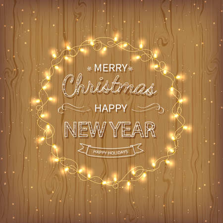 Merry Christmas and Happy New Year golden Greeting Background. Beautiful  lettering with garlands, golden confetti tinsel on a wooden background. Xmas card Vector illustration